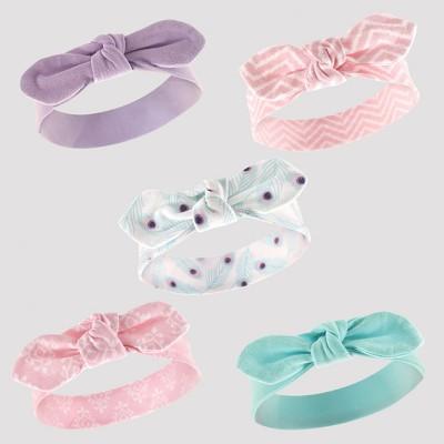 Hudson Baby Girls' 5pk Headband Set - Turquoise 0-12M