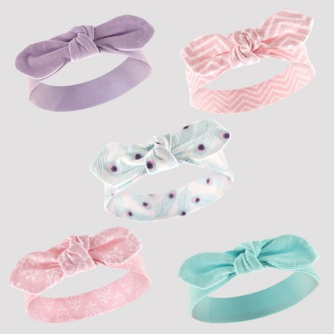 Hudson Baby Girls' 5pk Headband Set - Turquoise 0-12M - image 1 of 1