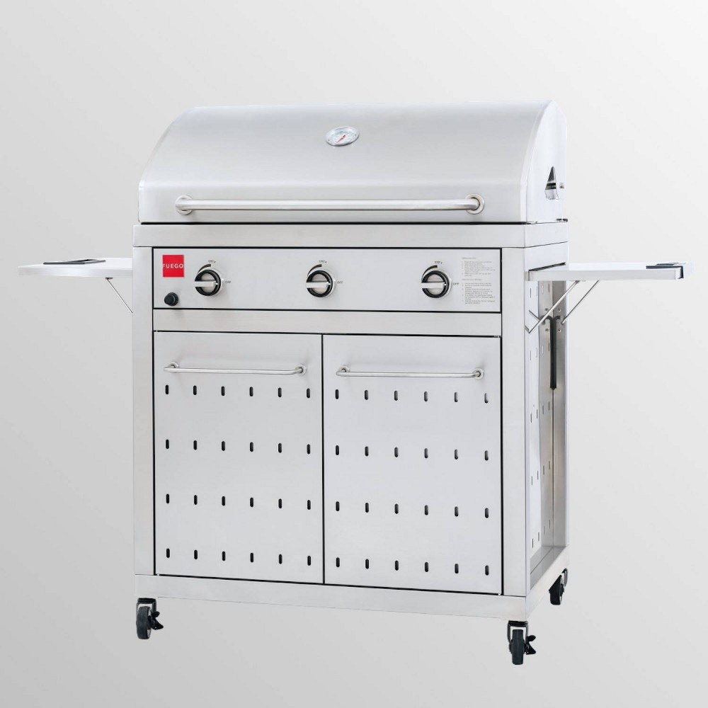 F-Series All 304SS 36  Propane Grill F36S - Stainless Steel - Fuego Transform your outdoor space into a professional cooking space with this F-Series Stainless Steel Propane Grill from Fuego. Constructed from durable stainless steel with a rustproof finish, this propane grill sports a compact design that's easy to move with caster wheels on the bottom, while the two side shelves offers extra space for food preparation and serving. This propane cooking grill has three burners, each with integrated ignitions to help you prepare a wide variety of tasty foods. Gender: unisex.
