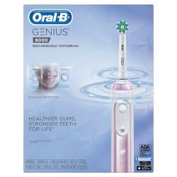 Oral-B Sakura Pink Genius 8000 Rechargeable Electric Toothbrush Powered By Braun