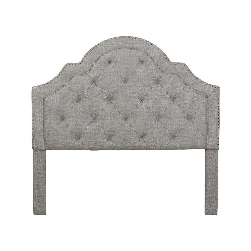 Queen Harris Tufted Upholstered Headboard Light Gray - John Boyd Designs