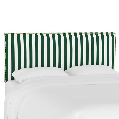 California King Wingback Headboard Canopy Stripe Emerald - Skyline Furniture