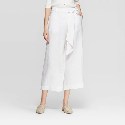 Women's Regular Fit Mid-Rise Linen Crop Pants - A New Day™ White - image 1 of 3
