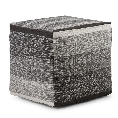 Frances Cube Pouf Patterned Gray Melange Cotton - Wyndenhall - image 1 of 4