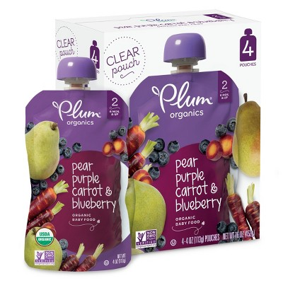 Plum Organics Baby Food Stage 2 Blueberry Pear & Purple Carrot 4oz 4pk