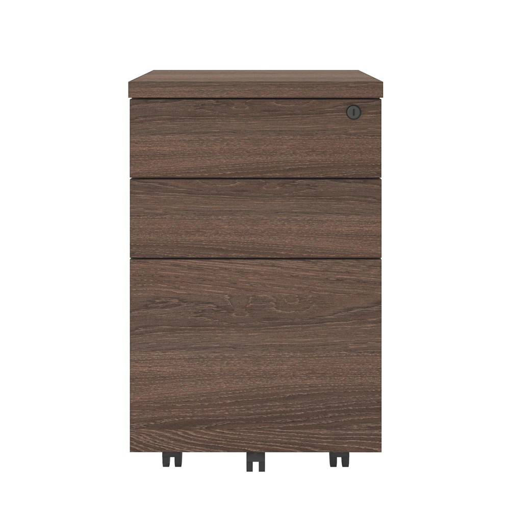 Image of 3 Drawers Mobile File Cabinet Medium Brown - Ameriwood Home