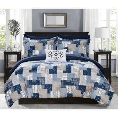 King 8pc Viy Bed In A Bag Comforter Set Blue - Chic Home