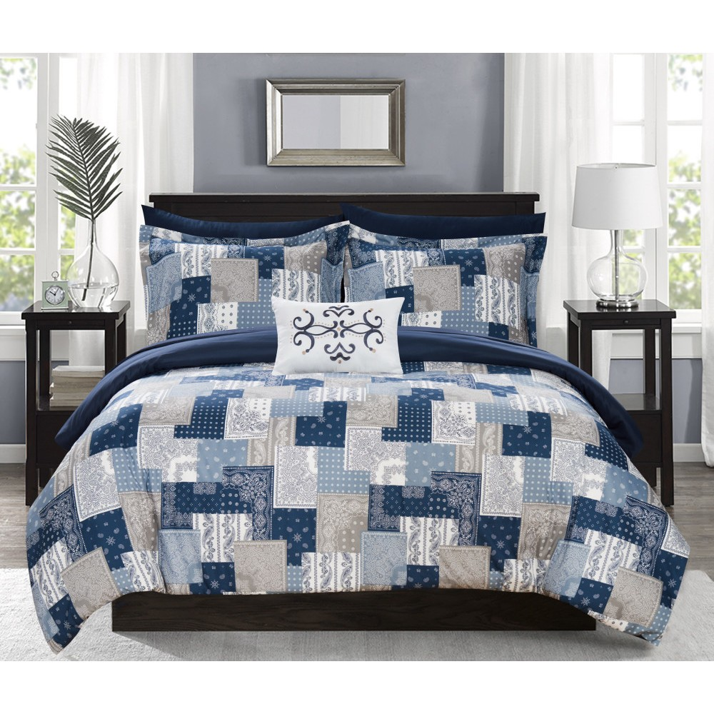 Queen 8pc Viy Bed In A Bag Comforter Set Blue - Chic Home Top