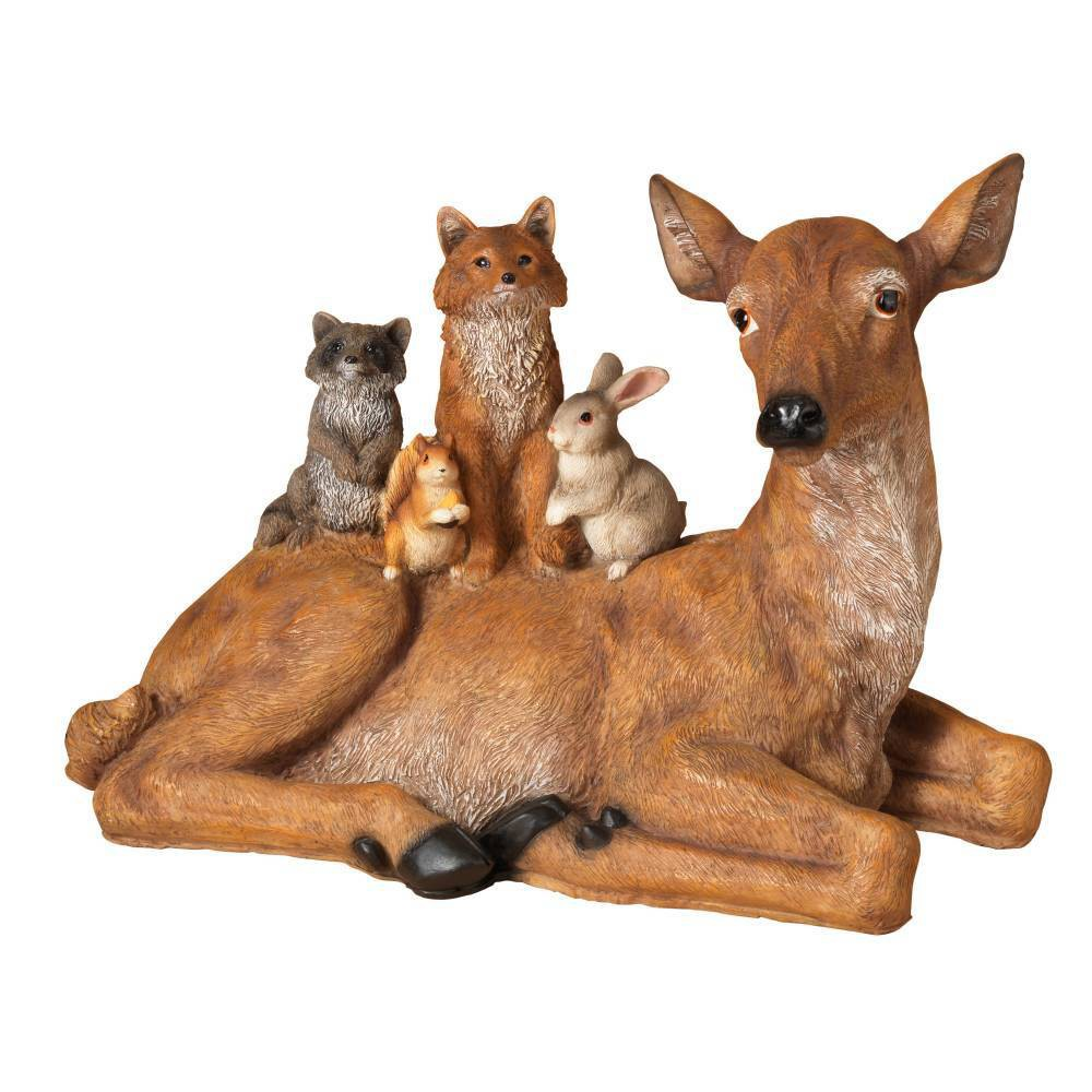 "Image of ""12.6"""" Laying Down Resin Deer Decorative Figurine - Gerson International, Brown"""