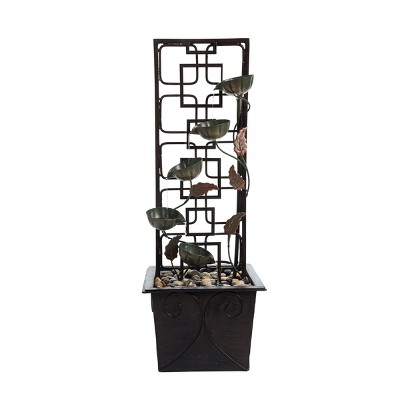 Cascading Flower Lattice Indoor Water Fountain With Pump - Foreside Home & Garden