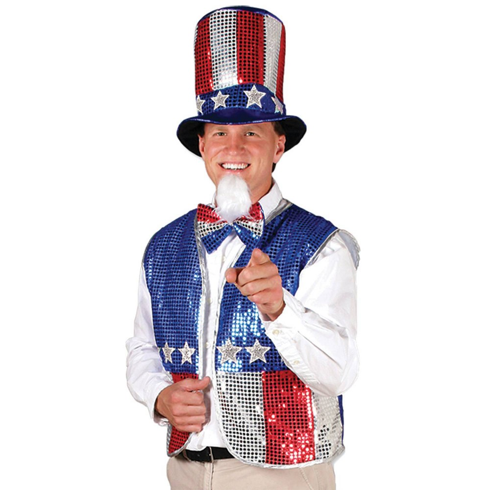 Image of Halloween Adult Uncle Sam Costume Accessory Set, Men's, Size: One Size, Red