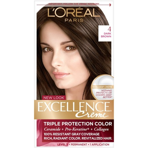 L Oreal Paris Excellence Triple Protection Permanent Hair Color 4 Dark Brown 1 Kit
