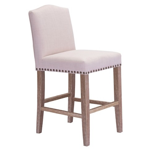 "24"" Plush Nail Head Counter Chair - Hardwood/Beige - ZM Home - image 1 of 2"