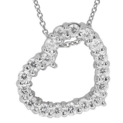 1/2 CT. T.W. Round-cut CZ Heart Pave Set Necklace in Sterling Silver - Silver - image 1 of 2