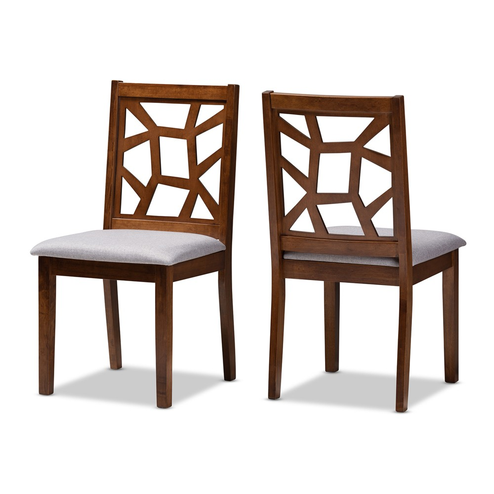 Set of 2 Abilene Walnut Finished Dining Chair Gray/Walnut Brown - Baxton Studio