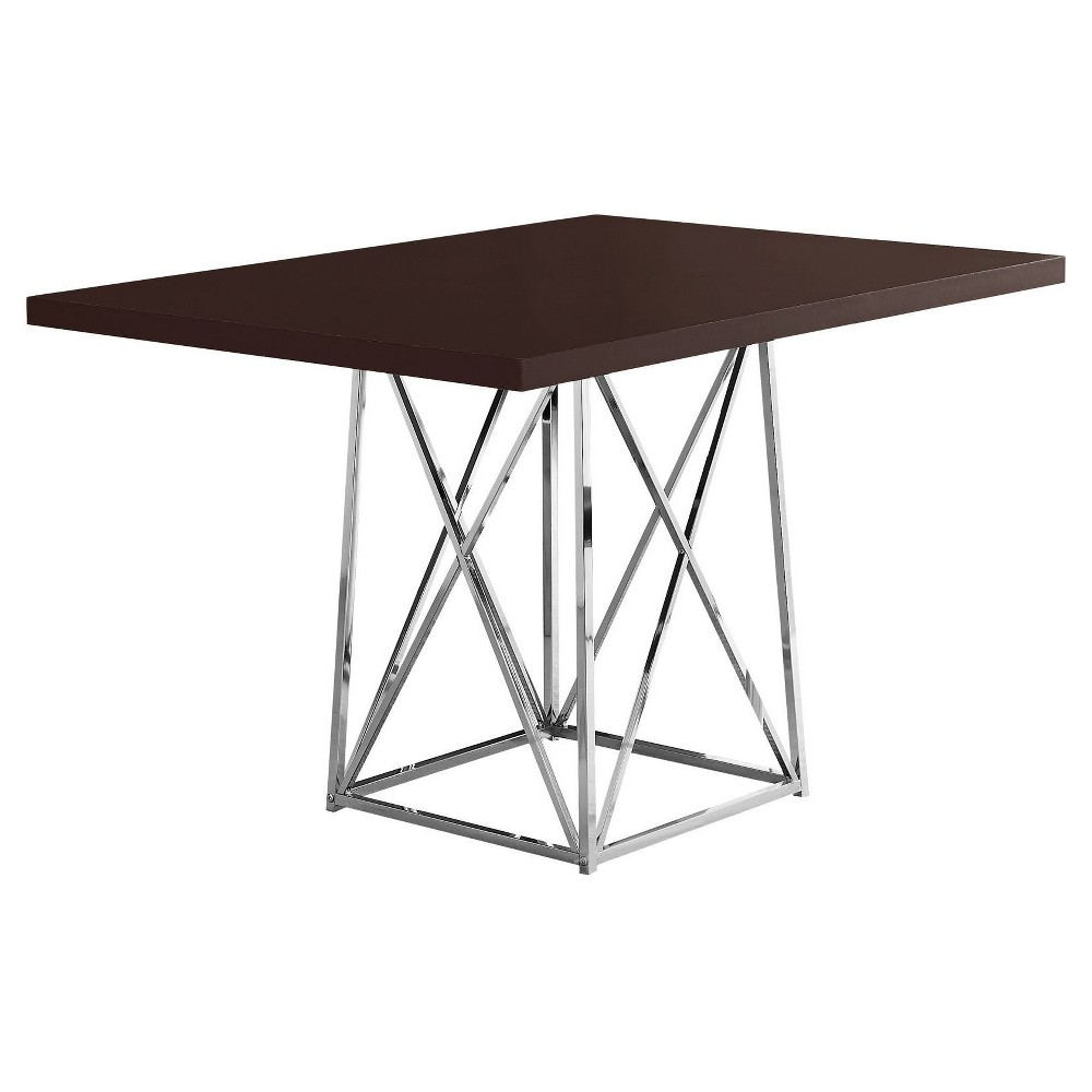 Dining Table - Cappuccino, Chrome Metal - EveryRoom