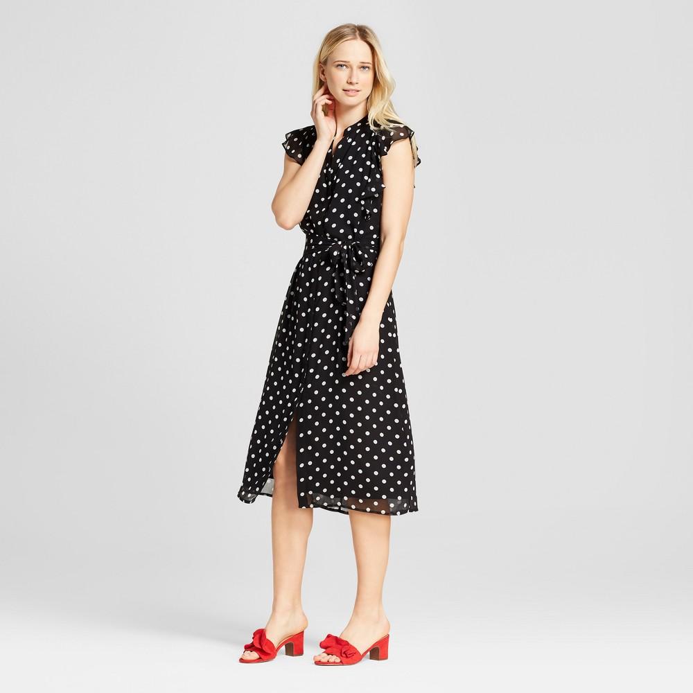 Women's Ruffle Sleeve Midi Dress - Who What Wear Black Polka Dot S