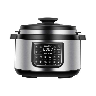 Geek Chef GP80 Plus 12 in 1 Electric 8 Quart Oval Pressure Cooker Sous Vide Digital Slow Cooker with EZ Lock Lid, Accessories, and LCD Display