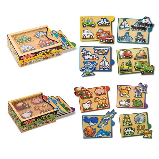Melissa & Doug Wooden Mini-Puzzle Set With Storage and Travel Case 32pc image number null