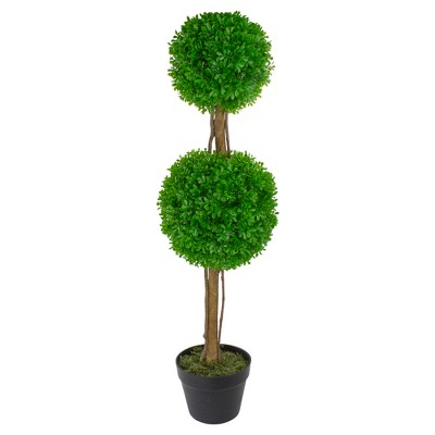 """Northlight 36"""" Green Double Sphere Artificial Boxwood Topiary Potted Plant"""