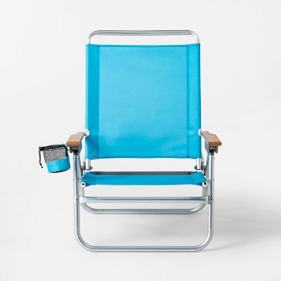 Deluxe Oversized Beach Chair with Beverage Holder Blue - Sun Squad™