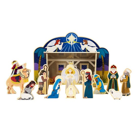 Melissa & Doug Classic Wooden Christmas Nativity Set With 4-Piece Stable and 11 Wooden Figures image number null