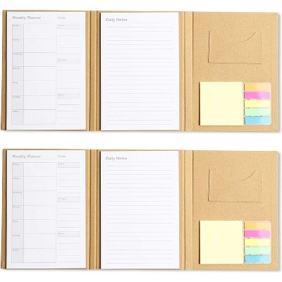 2-Pack Set of Planner Notebook To-do List and Weekly Planner Notebook, Sticky Notes Included