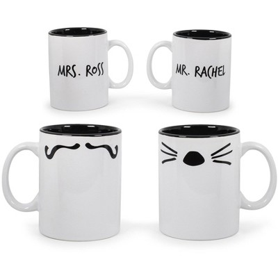 Robe Factory LLC Friends Mr. Rachel Whiskers and Mrs. Ross Moustache Double-Sided Mugs | Set of 2