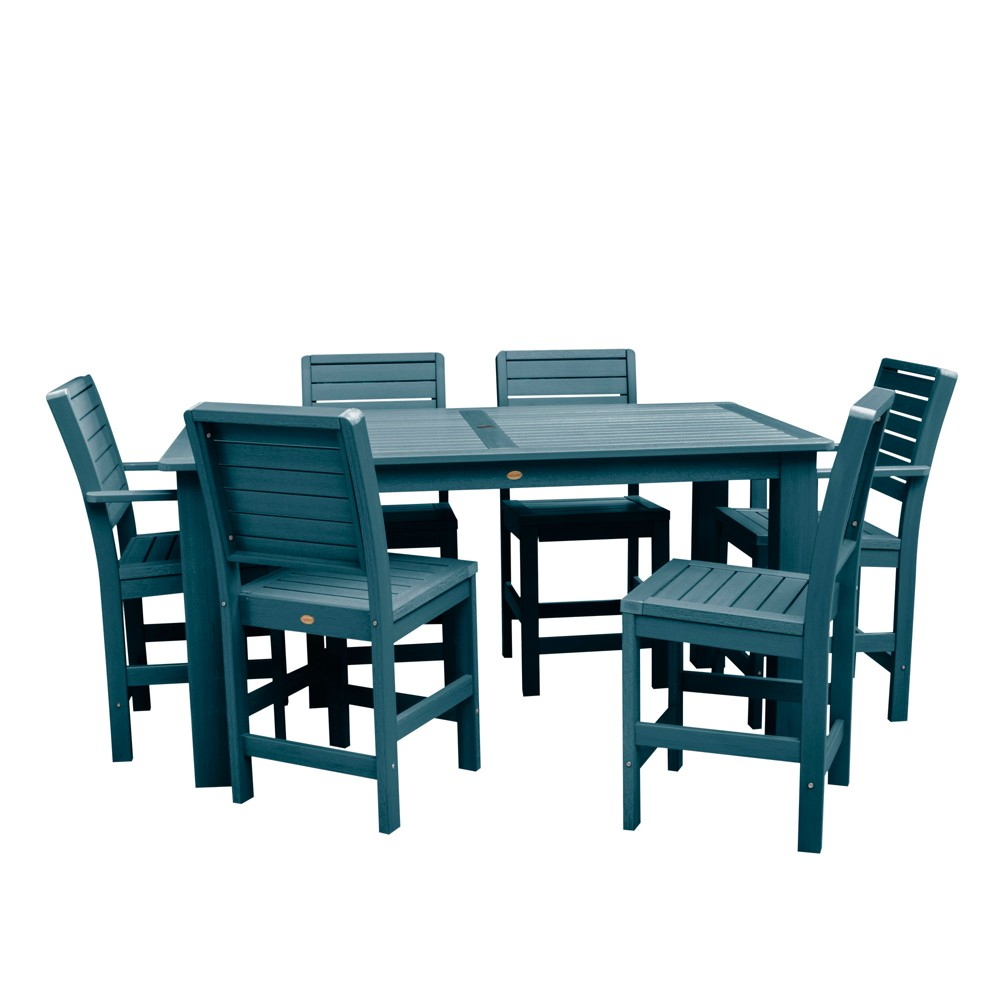 "Image of ""7pc Weatherly 72"""" Rectangular Counter Patio Dining Set Nantucket Blue - highwood"""