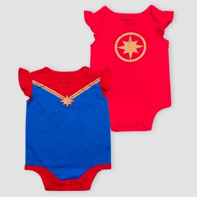 Baby Girls' Disney Captain Marvel 2pk Short Sleeve Bodysuits - Red/Blue 0-3M