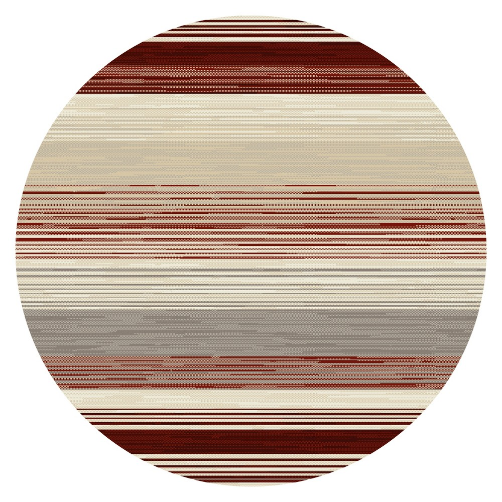 Image of Red Stripe Woven Round Area Rug - (5') - Art Carpet, Size: 5' ROUND