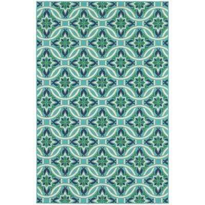 Marlowe Floral Lattice Patio Rug Blue/Green