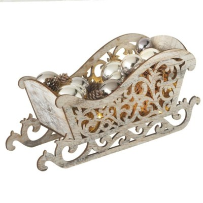 """Ganz 15.5"""" Pre-Lit Brown and Silver LED Country Rustic Sleigh Christmas Tabletop Decor"""