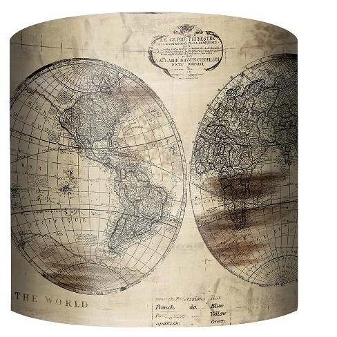 "PTM Images 10-0144 World Map 10"" Tall x 12"" Wide Cylinder Fabric Lamp Shade - image 1 of 1"