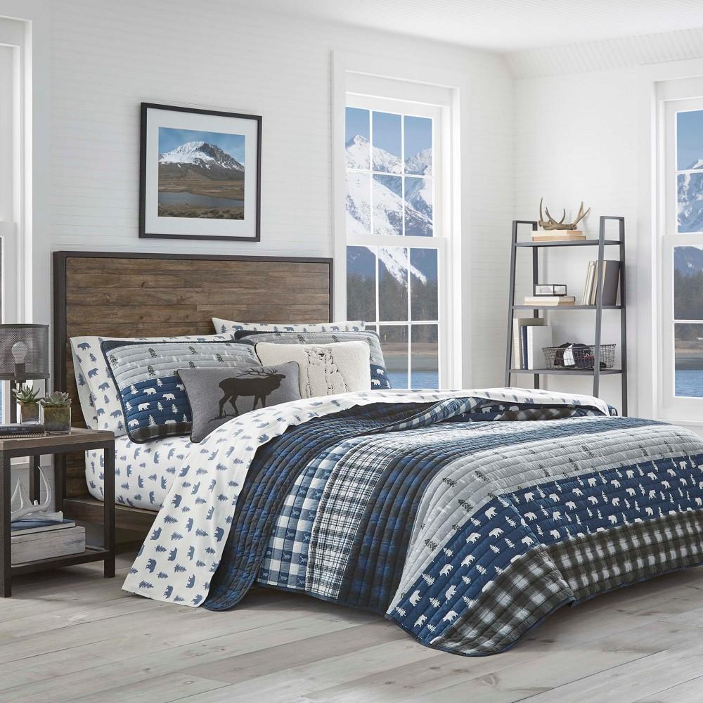 Image of Eddie Bauer Full/Queen Creek Plaid Quilt Set Blue