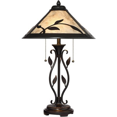 Franklin Iron Works Rustic Table Lamp Metal Openwork Leaf Accents Mica Shade for Living Room Family Bedroom Bedside Nightstand