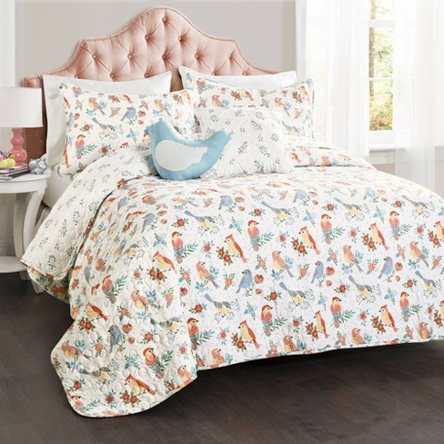 5pc Full Chirpy Birds Bedding Set with Bird Throw Pillow - Lush Dcor - image 1 of 4