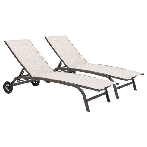 2pc Outdoor Adjustable Chaise Lounge, Pool Chaise Lounge Chairs With Wheels