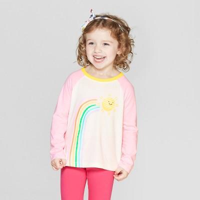 Toddler Girls' Long Sleeve 'Rainbow' T-Shirt - Cat & Jack™ Cream/Pink 12M