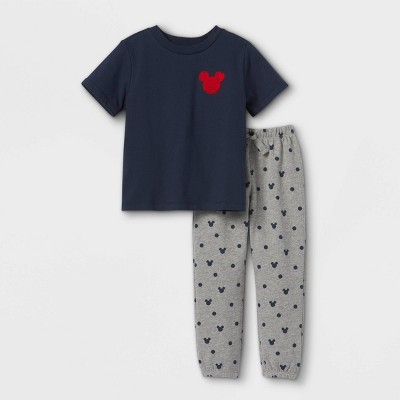 Toddler Boys' Disney Mickey Mouse Top & Bottom Set - Heathered Gray/Navy