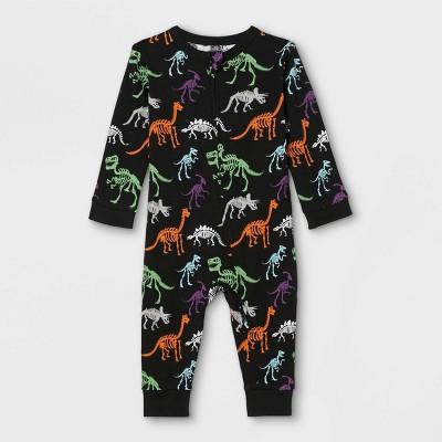 Baby Halloween Dino Skeleton Print Matching Family Union Suit - Black
