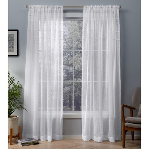 Davos Sheer Window Curtain Panel - Exclusive Home - image 1 of 7