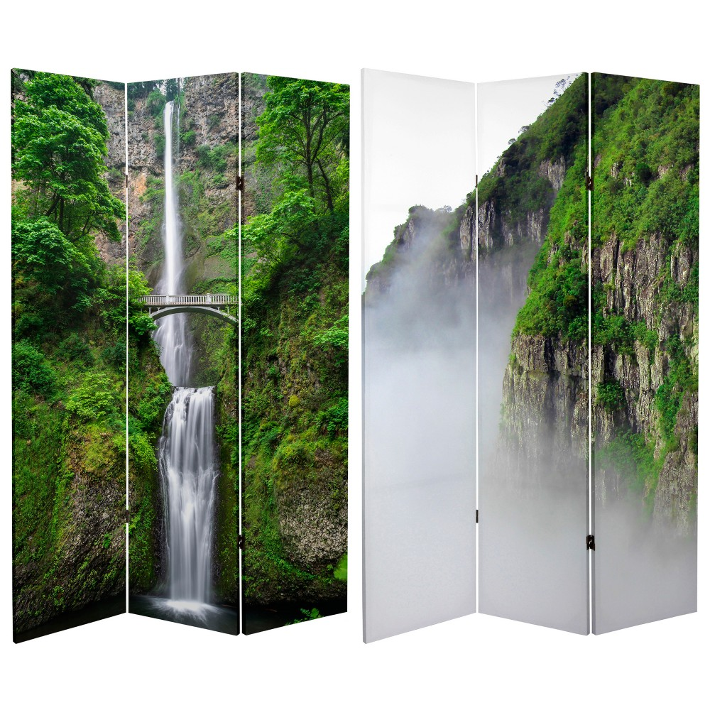 6' Tall Double Sided Mountaintop Waterfall Canvas Room Divider - Oriental Furniture, Green