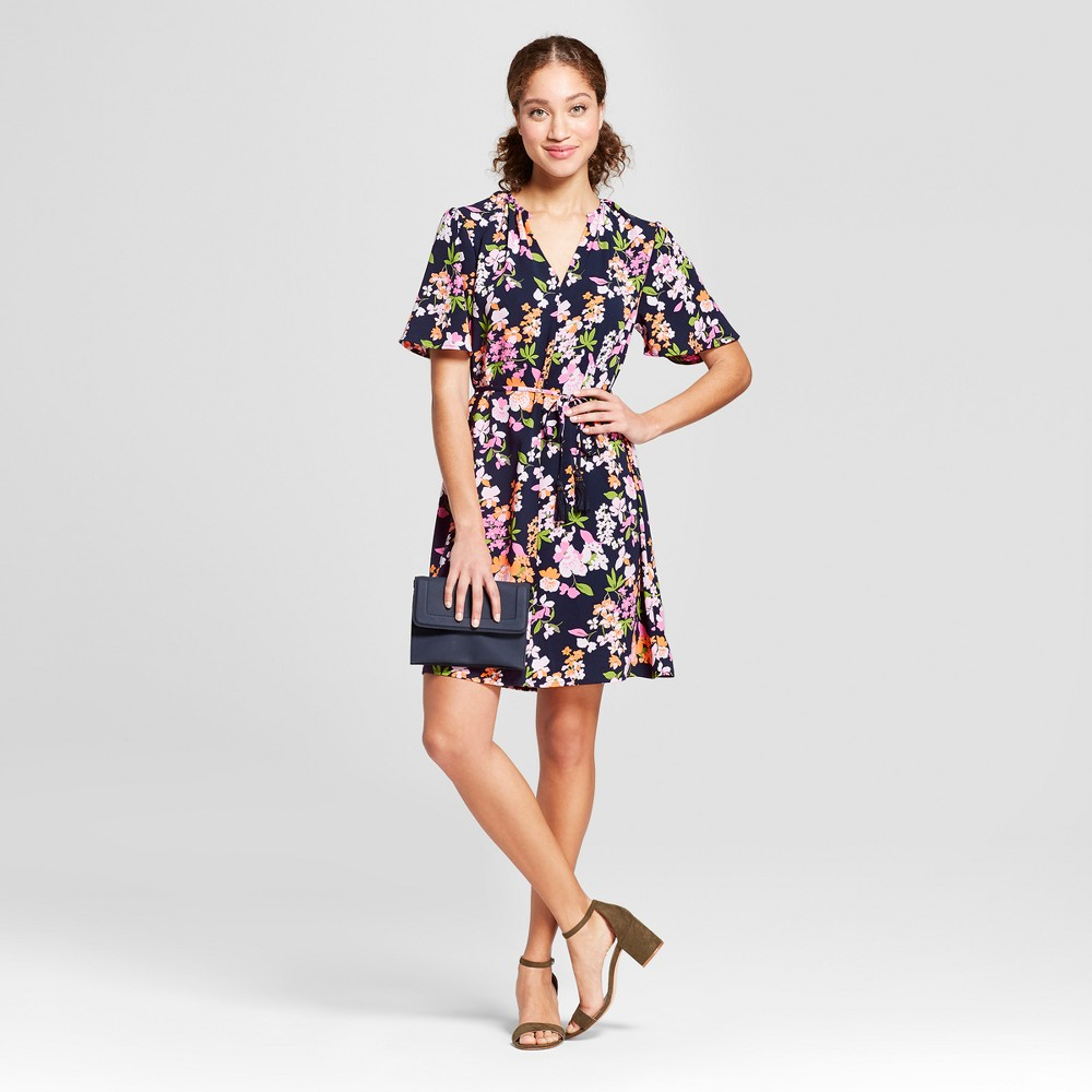 Women's Floral Print Short Sleeve Tie Waist Crepe Dress - A New Day Navy XS, Blue