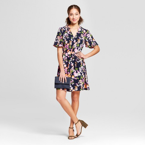 Women's Floral Print Short Sleeve Tie Waist Crepe Dress - A New Day™ Navy - image 1 of 3