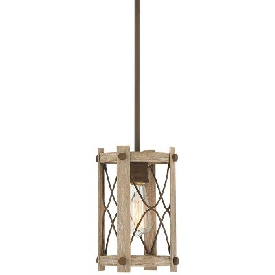 "Franklin Iron Works Daryl 7 1/4"" Wide Bronze and Wood Mini Pendant Light"