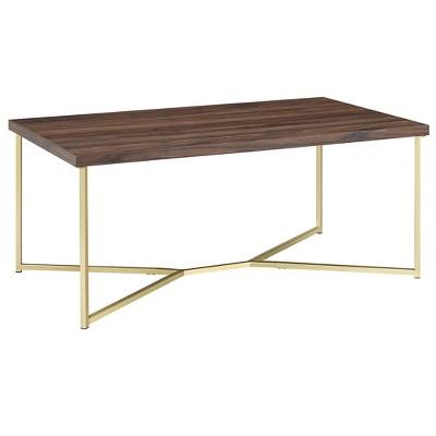 42  Y Leg Coffee Table Dark Walnut/Gold - Saracina Home