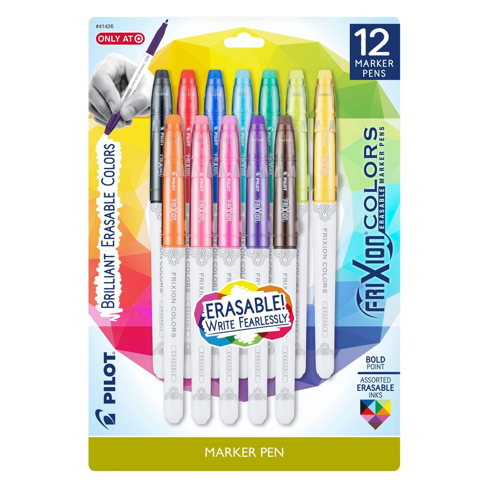 Image of Pilot 12ct FriXion Colors Erasable Marker Pens Bold Point Assorted Ink Colors