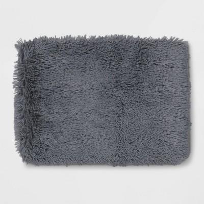 """17""""x23"""" Shag Foam Bath Rug Dark Dray - Room Essentials™"""