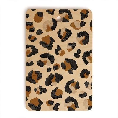 "17"" x 12"" Wood Cat Coquillette Leopard Print Rectangular Cutting Board - society6"